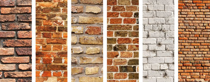 Reeks verticale banners met texturen van bakstenen muren Royalty-vrije Stock Foto's