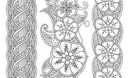 Reeks verticale naadloze patroon bloemengrenzen op wit Stock Afbeeldingen