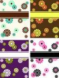 Reeks verticale retro banners met grote bloemen Stock Afbeelding