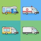 Reeks vervoerpictogrammen Kampeerauto, ziekenwagen, voedselvrachtwagen en ladingsvrachtwagen Stock Foto