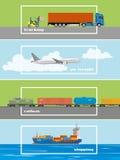 Reeks vervoersbanners Logistiek en Leveringsconceptenillustratie Lucht, vrachtwagens, spoorweg en schipvervoer Royalty-vrije Stock Foto's