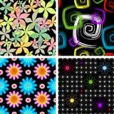Reeks vier abstract naadloos zwart patroon Stock Afbeelding