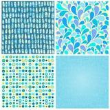 Reeks vier abstracte naadloze achtergronden van blauwe kleur vector illustratie