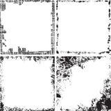 Reeks vierkante grungekaders Stock Afbeelding