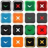 Reeks vierkante pictogrammen: overeenkomst of meningsverschil Royalty-vrije Stock Fotografie