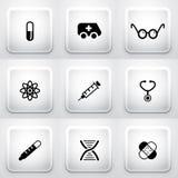 Reeks vierkante toepassingsknopen: medisch royalty-vrije illustratie