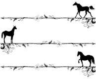 Reeks vignetten met paarden Stock Afbeeldingen