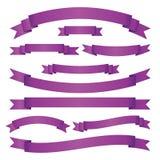 Reeks violette lintbanners op witte achtergrond Inzameling van lege kaders voor uw ontwerp Vector illustratie Stock Foto