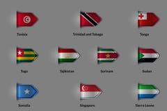 Reeks vlaggen in de vorm van een glanzende geweven etiket of een referentie Royalty-vrije Stock Foto's