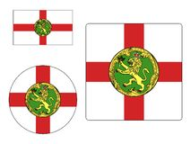 Reeks Vlaggen van Alderney royalty-vrije stock afbeeldingen