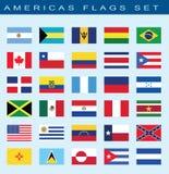 reeks vlaggen van Amerika, vectorillustratie Stock Afbeelding