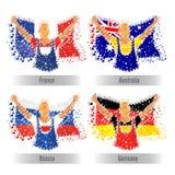 Reeks Vlaggen van deelnemerslanden voor Sportenconcept Stock Foto