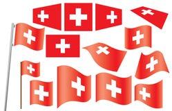 Reeks vlaggen van Zwitserland Stock Fotografie
