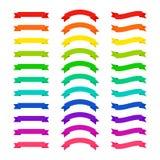 Reeks vlak gekleurde lintbanners Vector illustratie Royalty-vrije Stock Afbeelding