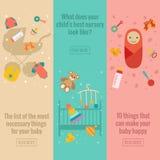 Reeks vlakke banners van de babyzorg Stock Afbeelding