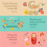 Reeks vlakke banners van de babyzorg Stock Foto