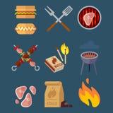 Reeks vlakke barbecuepictogrammen voor Web Het kamperen vectordieillustratie op blauwe achtergrond wordt geïsoleerd stock illustratie