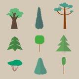 Reeks vlakke bomen Royalty-vrije Stock Fotografie