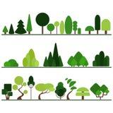Reeks vlakke bomen met inbegrip van pijnboom, struiken, buitensporige installaties Royalty-vrije Stock Afbeelding