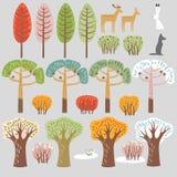 Reeks vlakke boselementen Bomen en dieren De de herfstzomer, de winter, de lentebomen, struiken stock illustratie