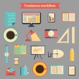 Reeks vlakke freelance werkschemapictogrammen Royalty-vrije Stock Afbeelding