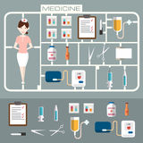 Reeks vlakke geneeskundepictogrammen Stock Foto's