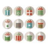 Reeks vlakke giftpakketten, Kerstmisgiften Royalty-vrije Stock Foto
