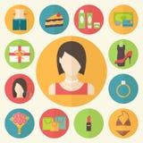 Reeks vlakke het conceptenpictogrammen van de ontwerpschoonheid Vrouw Stock Afbeelding
