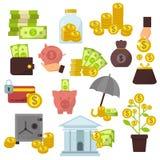 Reeks vlakke het geldpictogrammen van het ontwerpconcept voor financiën die de online van het de bokcontante geld van de betaling vector illustratie