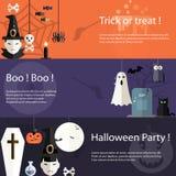 Reeks vlakke het ontwerp moderne banners van Halloween Stock Afbeelding