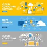 Reeks vlakke het Webbanners van het lijnontwerp voor de wolken gegevens verwerkende diensten en technologie, gegevensopslag Stock Afbeelding