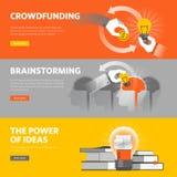 Reeks vlakke het Webbanners van het lijnontwerp voor het crowdfunding, brainstorming, groot idee royalty-vrije illustratie