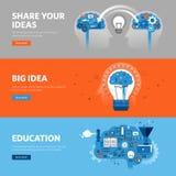Reeks vlakke het Webbanners van het lijnontwerp voor onderwijs, leerproces, brainstorming, die ideeën ruilen vector illustratie