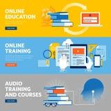 Reeks vlakke het Webbanners van het lijnontwerp voor online onderwijs, online opleiding en cursussen vector illustratie