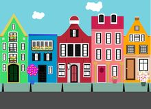 Reeks vlakke huizen Straat in de stad vector illustratie