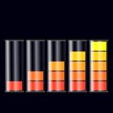Reeks vlakke indicatoren van de batterijlast Royalty-vrije Stock Afbeelding