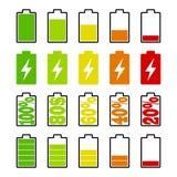 Reeks vlakke indicatoren van de batterijlast op witte achtergrond Celtelefoon, smartphone elektrische last, de pictogrammen van d Stock Afbeeldingen
