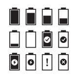 Reeks vlakke indicatoren van de batterijlast Vector illustratie stock illustratie