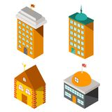 Reeks vlakke isometrische gebouwen Stock Foto