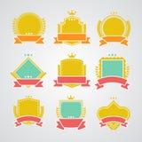 Reeks vlakke kentekens en linten Royalty-vrije Stock Afbeelding
