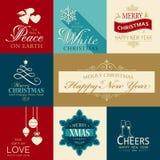 Reeks vlakke Kerstmis en Gelukkige Nieuwjaarpictogrammen Royalty-vrije Stock Afbeelding