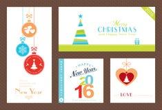 Reeks vlakke Kerstmis en Nieuwjaren achtergrond Royalty-vrije Stock Fotografie