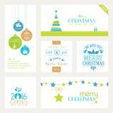 Reeks vlakke Kerstmis en Nieuwjaren banners op wit Stock Foto