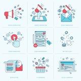 Reeks vlakke lijnpictogrammen voor marketing Stock Foto