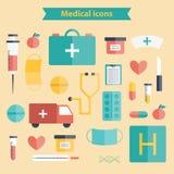 Reeks vlakke Medische pictogrammen Stock Afbeelding