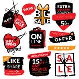 Reeks vlakke moderne en hand getrokken stickers van de ontwerpverkoop Inzameling van vectorillustraties voor het online winkelen, Stock Afbeeldingen