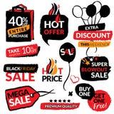 Reeks vlakke moderne en hand getrokken stickers van de ontwerpverkoop Inzameling van vectorillustraties voor het online winkelen, Royalty-vrije Stock Foto