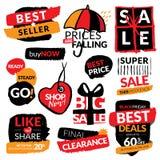 Reeks vlakke moderne en hand getrokken stickers van de ontwerpverkoop Inzameling van vectorillustraties voor het online winkelen, Royalty-vrije Stock Afbeelding