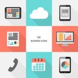 Reeks 04 - vlakke ontwerp bedrijfspictogrammen stock afbeeldingen