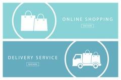 Reeks vlakke ontwerpconcepten online het winkelen en de Leveringsdienst Banners voor Webontwerp, marketing en bevordering Stock Afbeelding
